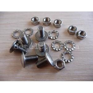 Болты нержавеющие крепежные 5х12,5 мм для подшипниковых ступиц с шайбами и гайками в комплекте из 6 штук